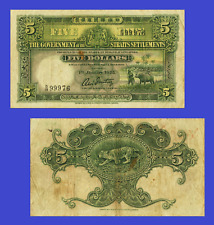 Straits Settlements 5 DOLLARS 1925. UNC - Reproduction