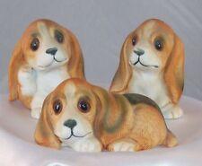 Vtg Homco Home Interior Porcelain Basset Hound Dog Figurines 3 Pcs #1407