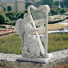 """29"""" Angelic Music Angel Playing The Harp Musical Wind Chimes Garden Statue"""