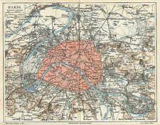 Paris Befestigungswerke alter STADTPLAN von 1897 St. Denis Neuily Boulogne Map