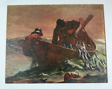 Vintage 1960's Winslow Homer The Herring Net Pressed Board Print Lithograph