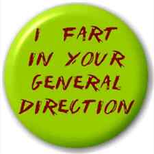I Fart In Your General Direction 25Mm Pin Button Badge Lapel Pin Fart Joke