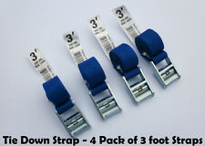 Tie Down and Cargo Straps – 4 Pack of 3' Straps