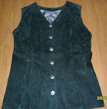 Gilet donna scamosciato color verde scuro taglia M / L