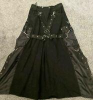 "punk/cyber/goth SDL Skirt Black Demin With D RingAttachments 30""Waist Cyber Goth"