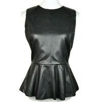 W118 by Walter Baker Womens Sz M Faux Leather Stretch Sleeveless Peplum Top