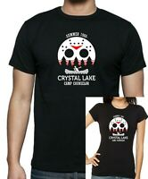 Mens Unisex + Ladies Fitted Friday The 13th CRYSTAL LAKE T-Shirt up to 5xl