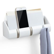 Umbra MINI CUBBY ORGANISER Storage Caddy Wall 3 COAT HOOKS White