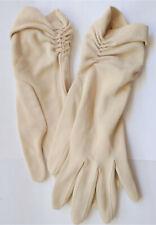 Vintage Womens BEIGE Cotton GLOVES Runch Gathering at Wrist 1950-1960s Classy