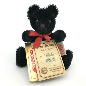 Hermann Yes No Teddy Bear Mini Mohair Plush Jointed Tags LE 5000 W Germany Vtg