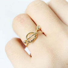 Knot ring adjustable size silver or gold plated shiny gemstone Valentine gift