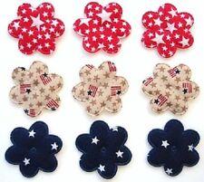 "60 Patriotic Cotton Print Flower 1"" Applique/USA/star/red/navy/white/Craft H251"