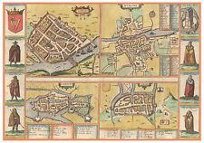 Dublin Limerick Galway Cork Ireland bird's-eye view map Braun Hogenberg ca.1617
