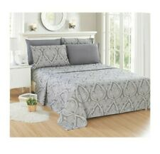 Brand New Lux Decor Grey Paisley 6 Piece Sheet Set Size QUEEN