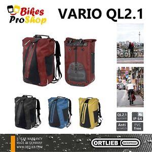 ORTLIEB Vario QL2.1 - Backpack & Bike Bicycle Pannier WATERPROOF GERMANY 2021