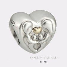 Authentic Pandora Silver & 14K Gold Heart of the Family Bead 791771