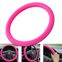 New Brand Car Leather Texture Soft Silicone Steering Wheel Cover 36-40cm Pink