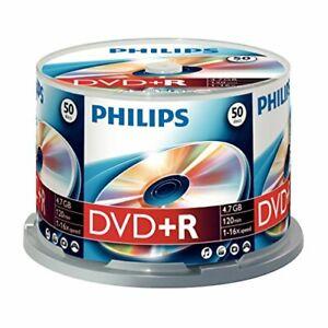 PHILIPS Lot de 50 Disques Vierges Enregistrable DVD+R 4.7 Go 120m 16x Spindle
