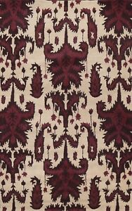 Contemporary Geometric Ivory Oriental Area Rug Modern Hand-Tufted Wool 5x8 ft