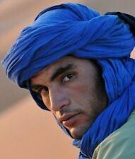 Long Handmade Scarf Tuareg Ethnic Turban Unisex Moroccan Blue Sahara African