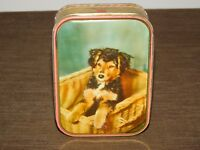 VINTAGE KITCHEN SHARPS TOFFEE MAIDSTONE ENGLAND PUPPY DOG CANDY TIN CAN  *EMPTY*