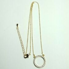 N0029 Dainty Gold Colored Chain Clear Rhinestone Mini Circle Pendant Necklace