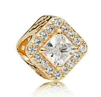 S925 Sterling Silver Geometric Radiance Charm Gold & Clear CZ Bead