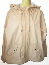 NEW LADIES NUDE PINK RETRO HOODED PU COATED RAIN COAT MAC SMALL UK 16 FITS 14/42