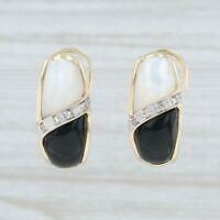 Mother of Pearl Black Glass Diamond Drop Earrings 10k Yellow Gold Omega Backs