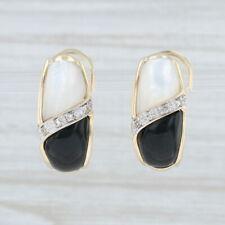 Perlmutt Schwarz Glas Diamant Ohrhänger 10k Gelbgold Omega Verschluss