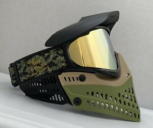 New JT Proflex Black Gold Olive Green Tan Paintball Mask Goggle Spectra