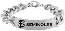 FLORIDA STATE SEMINOLES FSU * Stainless Steel ID Bracelet with Logo NCAA Jewelry