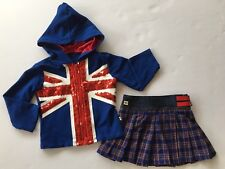 Madonna The English Roses 2T Toddler Girls Blue Union Jack Hoodie & Plaid Skirt