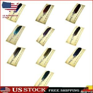 Retro Calligraphy Feather Dip Pen with 5 Nib Writing Ink Quill Fountain Pen S1