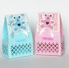 25x BABY SHOWER CHRISTENING TEDDY PINK BLUE FAVOUR BONBONNIERE BOXES
