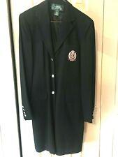 Lauren Ralph Lauren Black Long 100% Wool Coat Blazer Jacket 3/4 Length 4