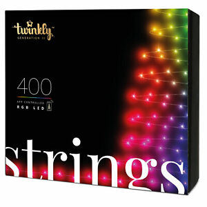 Twinkly 400 LED RGB Multicolor 105 Ft. Decorative String Lights, Bluetooth WiFi