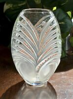 Lalique Chamarel Vase Orange Enamel Decorations Mint Condition Signed Authentic