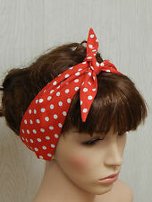 Retro pin up vintage self tie headband 50's red polka dot hair scarf hairband