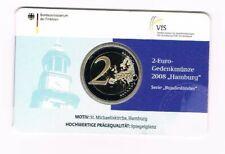 GERMANY DUITSLAND COINCARD 2008 2 EURO HAMBURGER MICHEL letter J