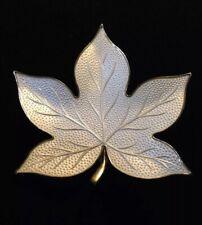 Aksel Holmsen Modernist White Enamel Leaf Pin Brooch 925S Guilloche Norway VTG