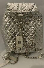 Steve Madden Hollie Quilted Metallic Silver Large Backpack Handbag