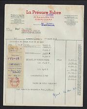 """AUBERVILLIERS (93) PRODUITS pour LAITERIE """"PRESURE FABRE"""" en 1951"""