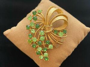 Vintage Lisner Light & Dark Green Rhinestone Brushed Gold Tone Brooch Pin
