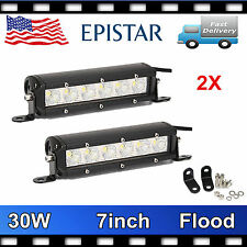 2X 7'' 30W Mini Single Row LED Work Light Bar Offroad SUV Jeep Truck Flood PRET