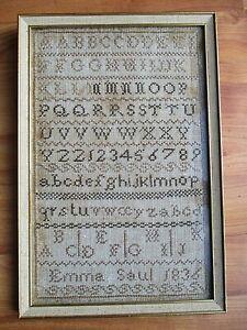 ANTIQUE SAMPLER EMMA SAUL1836 HAND EMBROIDERY ORIGINAL VINTAGE