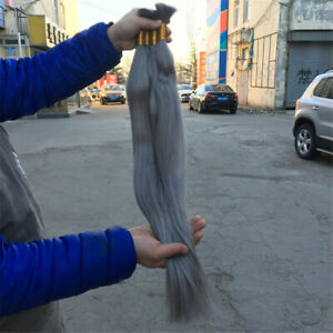 Grey Hair100% Human Hair Bulk Brazilian Straight Braiding Hair Extension No Weft