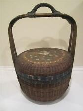 Antique Chinese Painted Wicker/ Rattan Handled Basket W/ Lid - Sewing Basket?