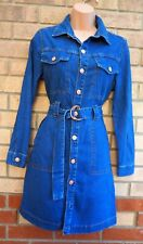 NEW LOOK PETITE BLUE BUTTONED BELTED A LINE LONG SLEEVE DENIM JEANS DRESS 8 S