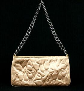 CHANEL Champagne Satin Camellia Pochette Chain Strap Evening Bag